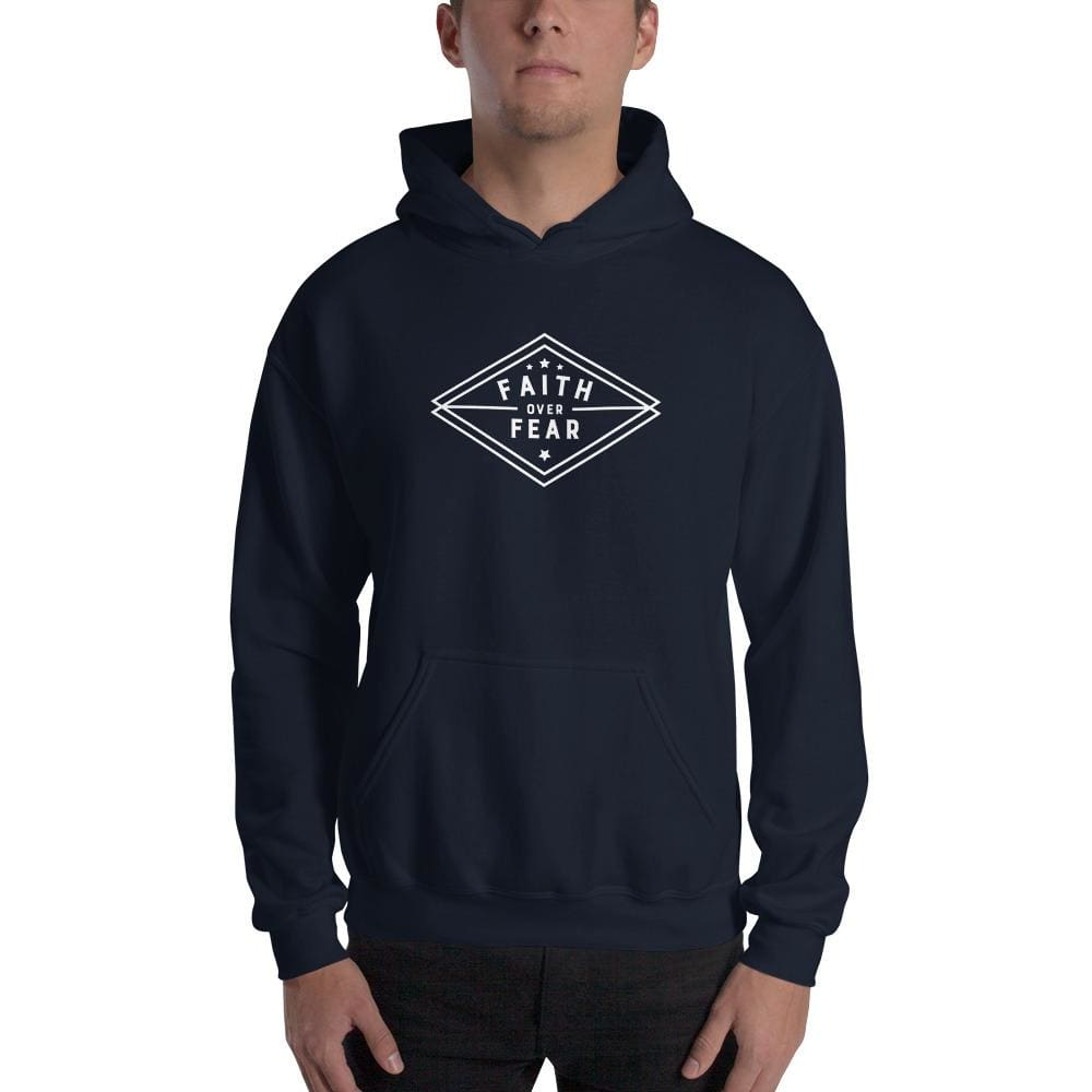 Load image into Gallery viewer, Mens Faith over Fear Diamond Christian Hoodie Sweatshirt - S / Navy - Sweatshirts