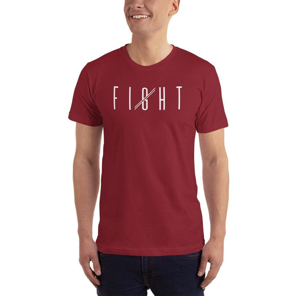 Mens Fight T-Shirt (White print) - S / Cranberry - T-Shirts