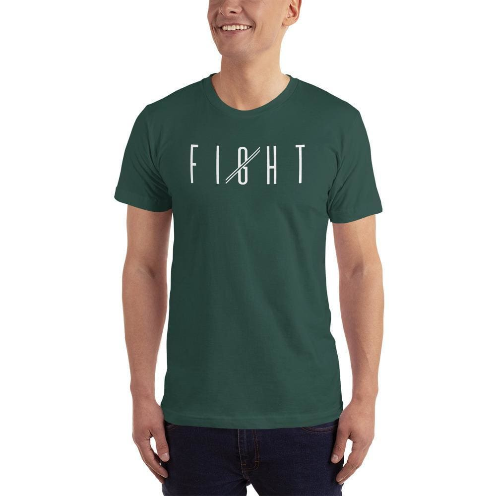 Mens Fight T-Shirt (White print) - S / Forest - T-Shirts
