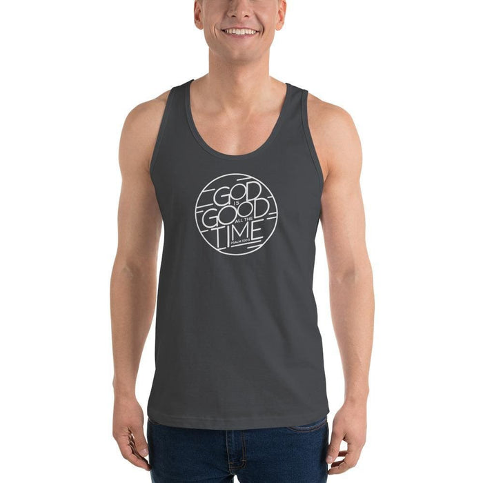 Mens God is Good All the Time Tank Top - XS / Asphalt - Tank Tops
