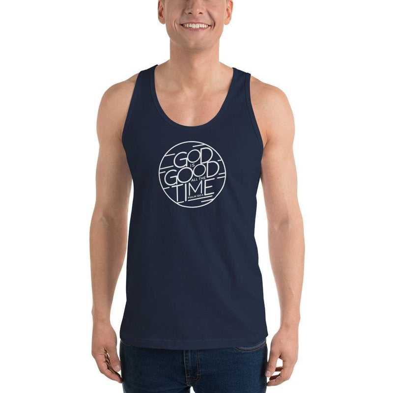 Mens God is Good All the Time Tank Top - XS / Navy - Tank Tops