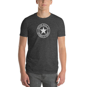 Mens Never Give Up Without a Fight T-Shirt - S / Heather Dark Grey - T-Shirts