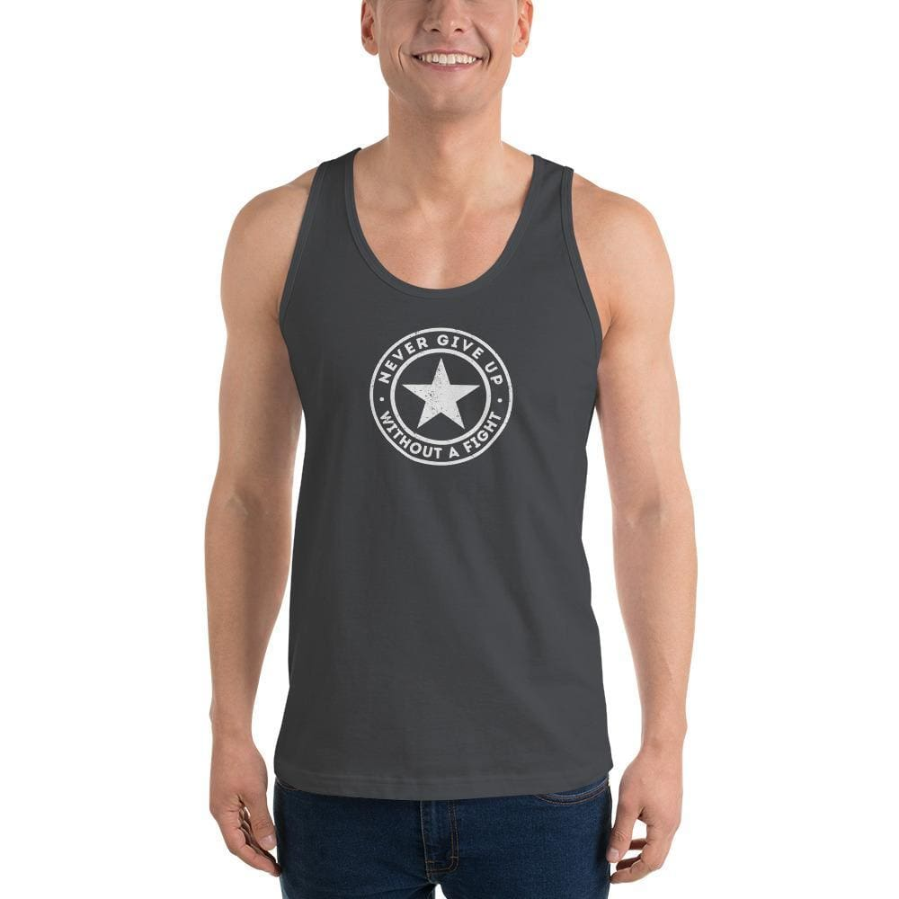 Mens Never Give Up Without a Fight Tank Top - XS / Asphalt - Tank Tops
