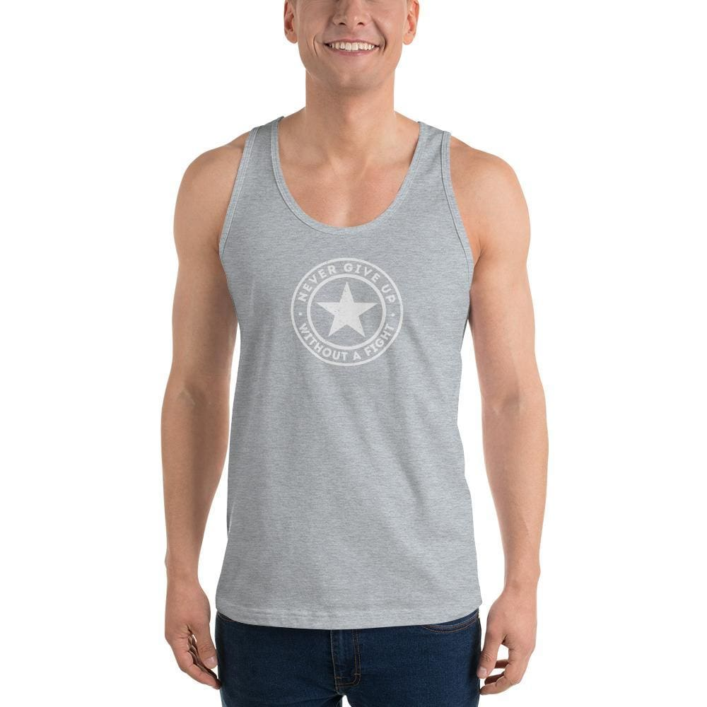 Mens Never Give Up Without a Fight Tank Top - XS / Heather Grey - Tank Tops