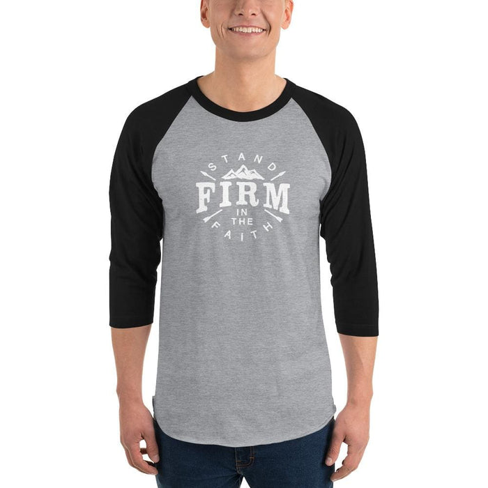 Mens Stand Firm in the Faith 3/4 Sleeve Raglan T-Shirt - 2XL / Heather Grey/Black - T-Shirts