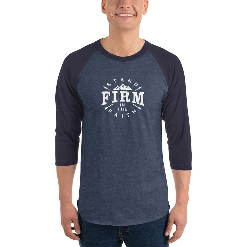 Mens Stand Firm in the Faith 3/4 Sleeve Raglan T-Shirt - XS / Heather Denim/Navy - T-Shirts
