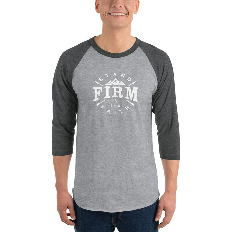 Mens Stand Firm in the Faith 3/4 Sleeve Raglan T-Shirt - XS / Heather Grey/Heather Charcoal - T-Shirts