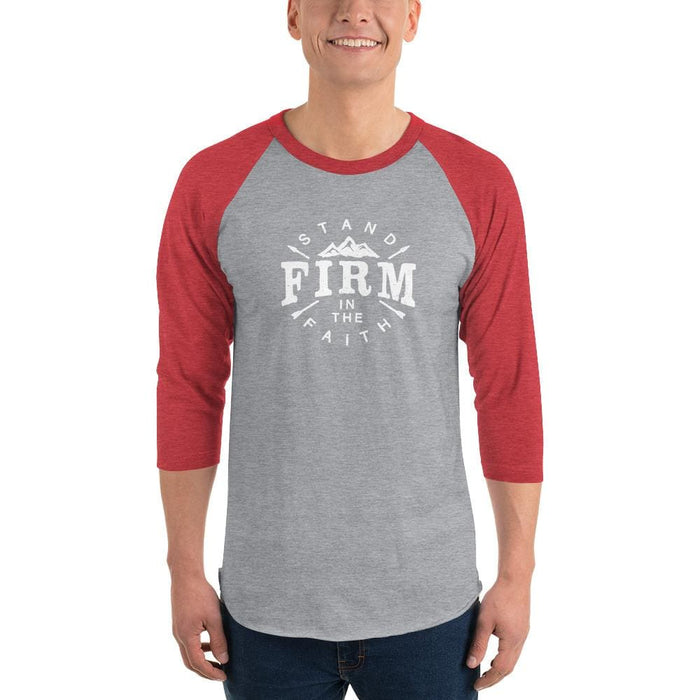 Mens Stand Firm in the Faith 3/4 Sleeve Raglan T-Shirt - XS / Heather Grey/Heather Red - T-Shirts