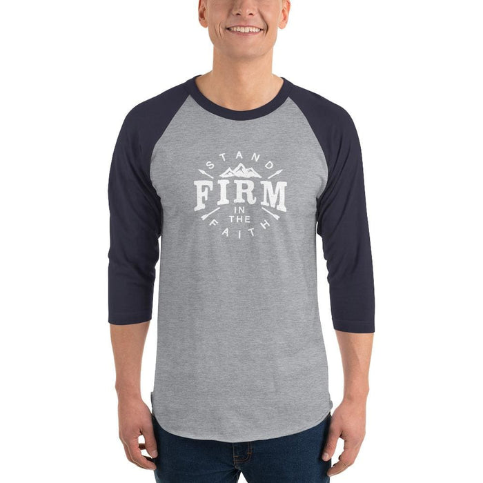 Mens Stand Firm in the Faith 3/4 Sleeve Raglan T-Shirt - XS / Heather Grey/Navy - T-Shirts