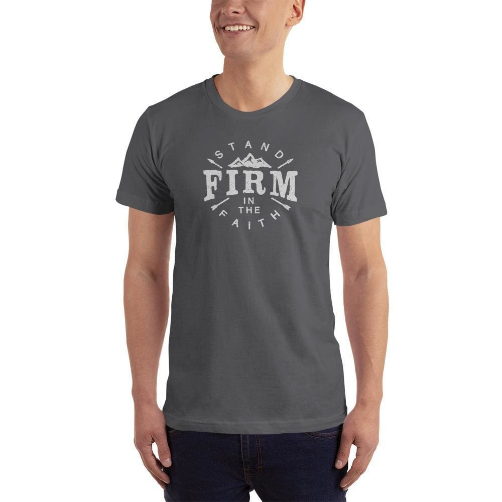 Mens Stand Firm in the Faith Christian T-Shirt - S / Asphalt - T-Shirts