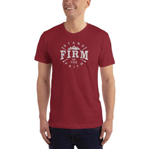 Mens Stand Firm in the Faith Christian T-Shirt - S / Cranberry - T-Shirts