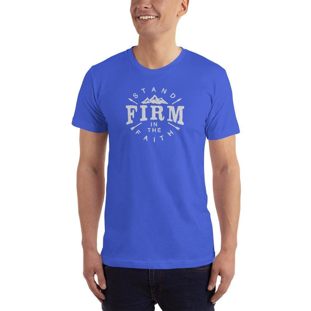 Mens Stand Firm in the Faith Christian T-Shirt - S / Royal Blue - T-Shirts