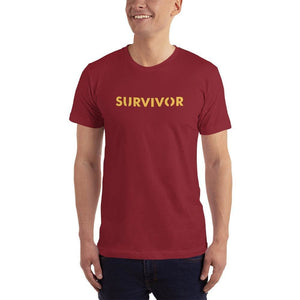 Mens Survivor Short-Sleeve T-Shirt (Yellow Print) - XS / Cranberry - T-Shirts