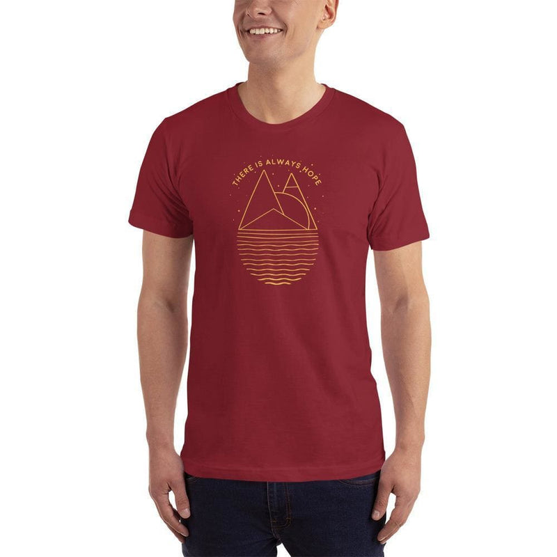 Mens There is Always Hope Short-Sleeve T-Shirt (Yellow Print) - XS / Cranberry - T-Shirts