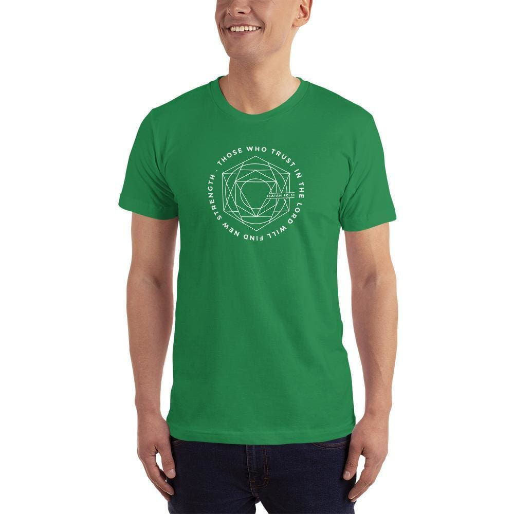 Load image into Gallery viewer, Mens Those Who Trust in the Lord Will Find New Strength Christian T-Shirt - S / Kelly Green - T-Shirts
