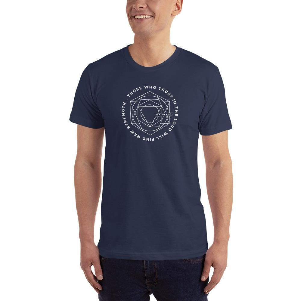 Load image into Gallery viewer, Mens Those Who Trust in the Lord Will Find New Strength Christian T-Shirt - S / Navy - T-Shirts