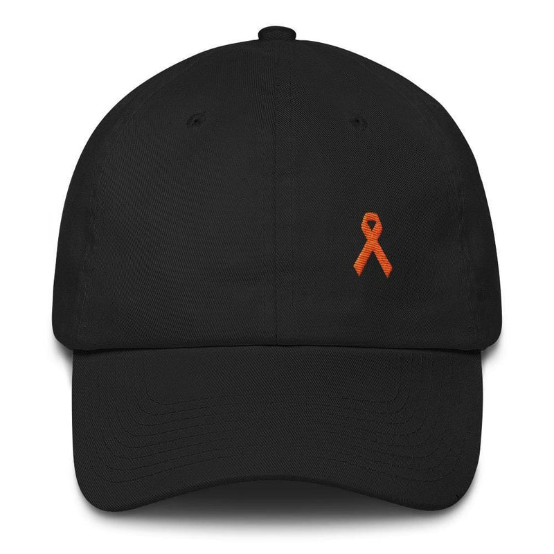 MS Awareness Dad Hat with Orange Ribbon - One-size / Black - Hats