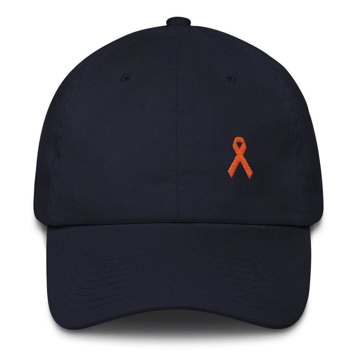 MS Awareness Dad Hat with Orange Ribbon - One-size / Navy - Hats