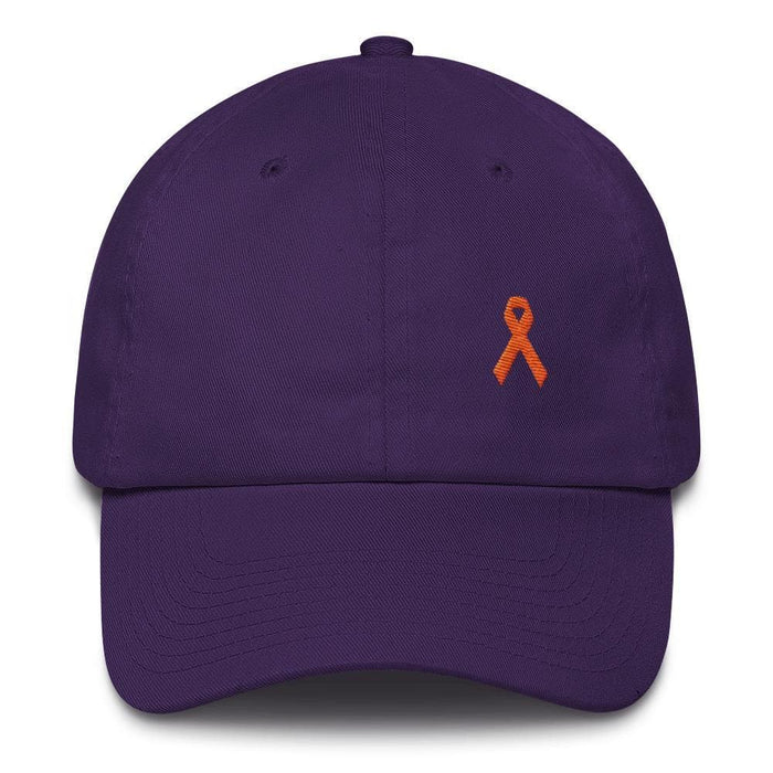 MS Awareness Dad Hat with Orange Ribbon - One-size / Purple - Hats