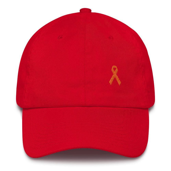 MS Awareness Dad Hat with Orange Ribbon - One-size / Red - Hats