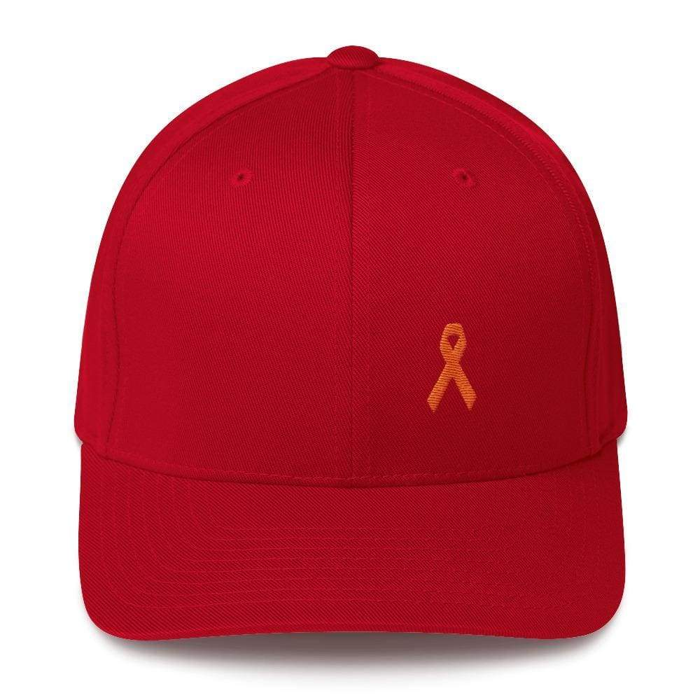 Ms Awareness Fitted Baseball Hat With Flexfit - S/m / Red - Hats