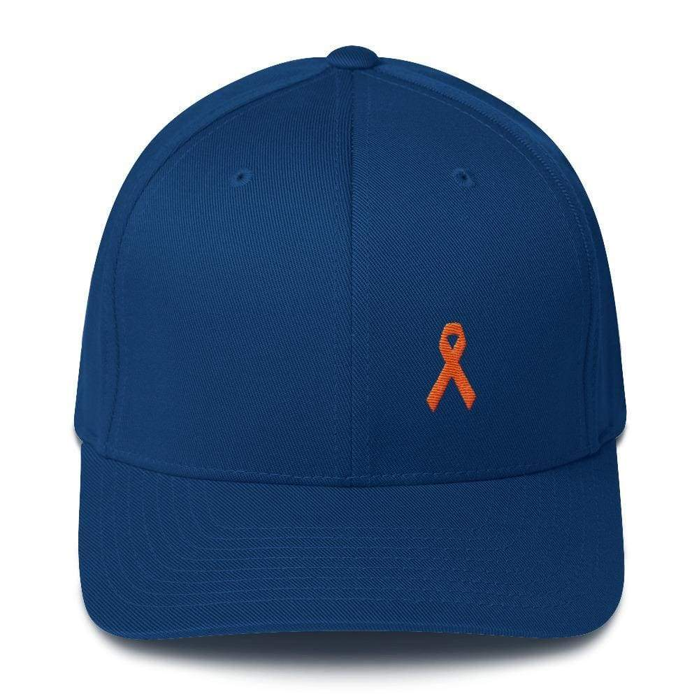 Ms Awareness Fitted Baseball Hat With Flexfit - S/m / Royal Blue - Hats