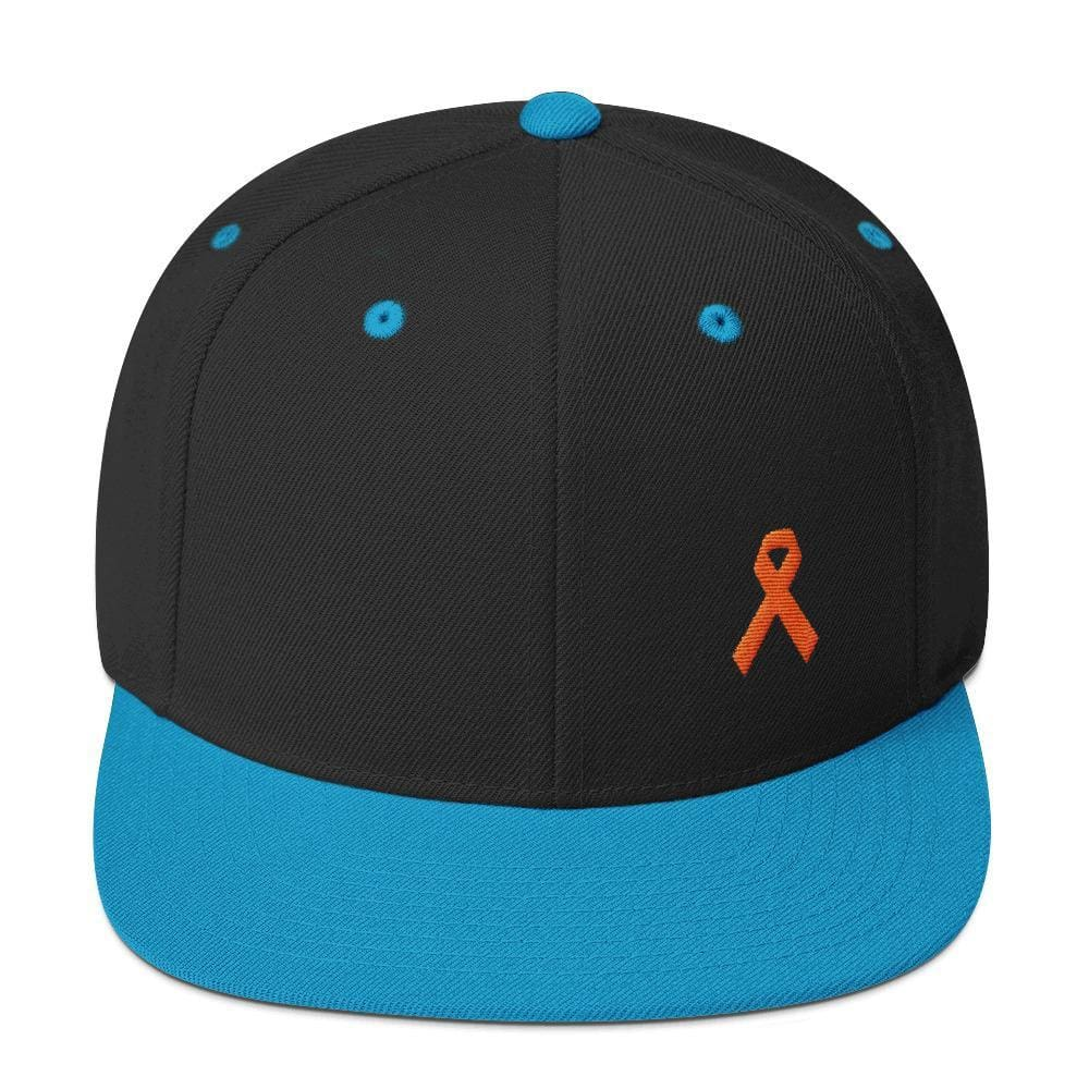 MS Awareness Flat Brim Snapback Hat - One-size / Black/ Teal - Hats