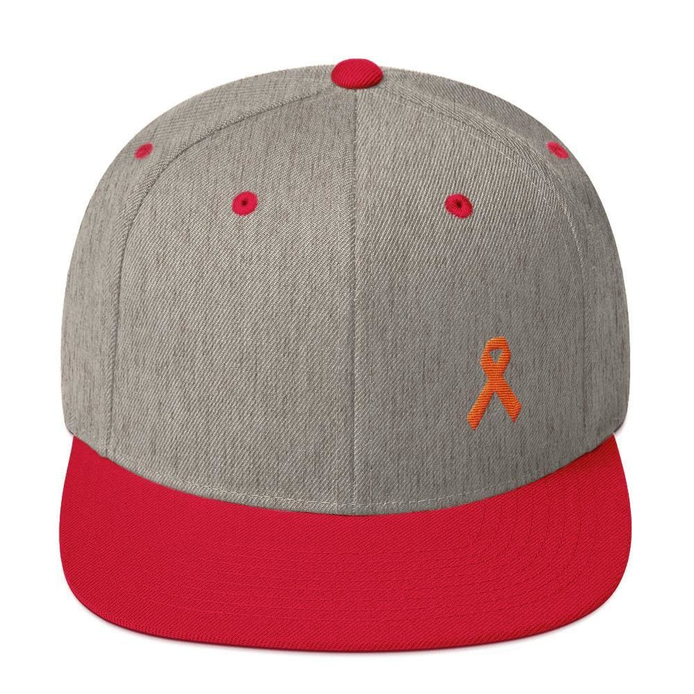 MS Awareness Flat Brim Snapback Hat - One-size / Heather Grey/ Red - Hats