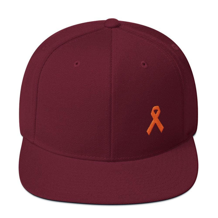 MS Awareness Flat Brim Snapback Hat - One-size / Maroon - Hats