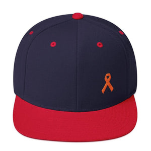 MS Awareness Flat Brim Snapback Hat - One-size / Navy/ Red - Hats