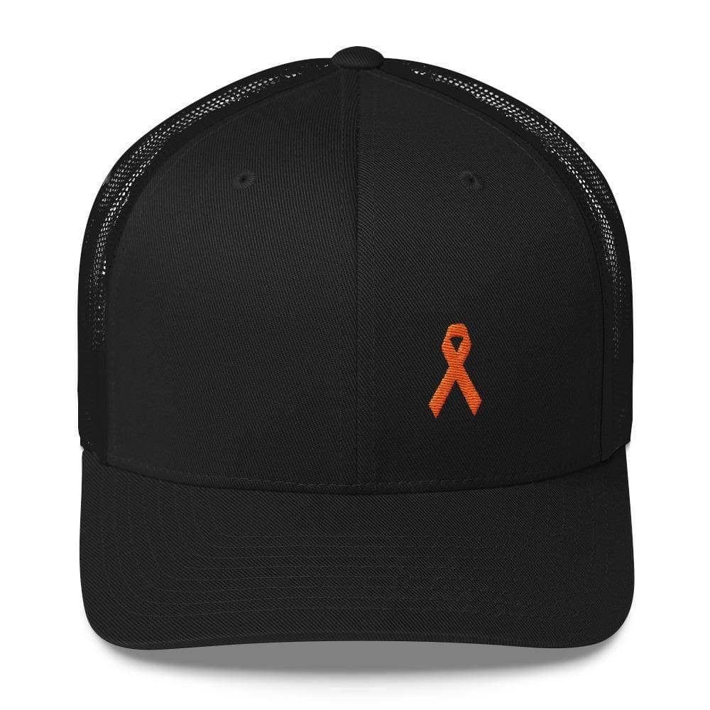 Load image into Gallery viewer, MS Awareness Orange Ribbon Snapback Trucker Hat - One-size / Black - Hats