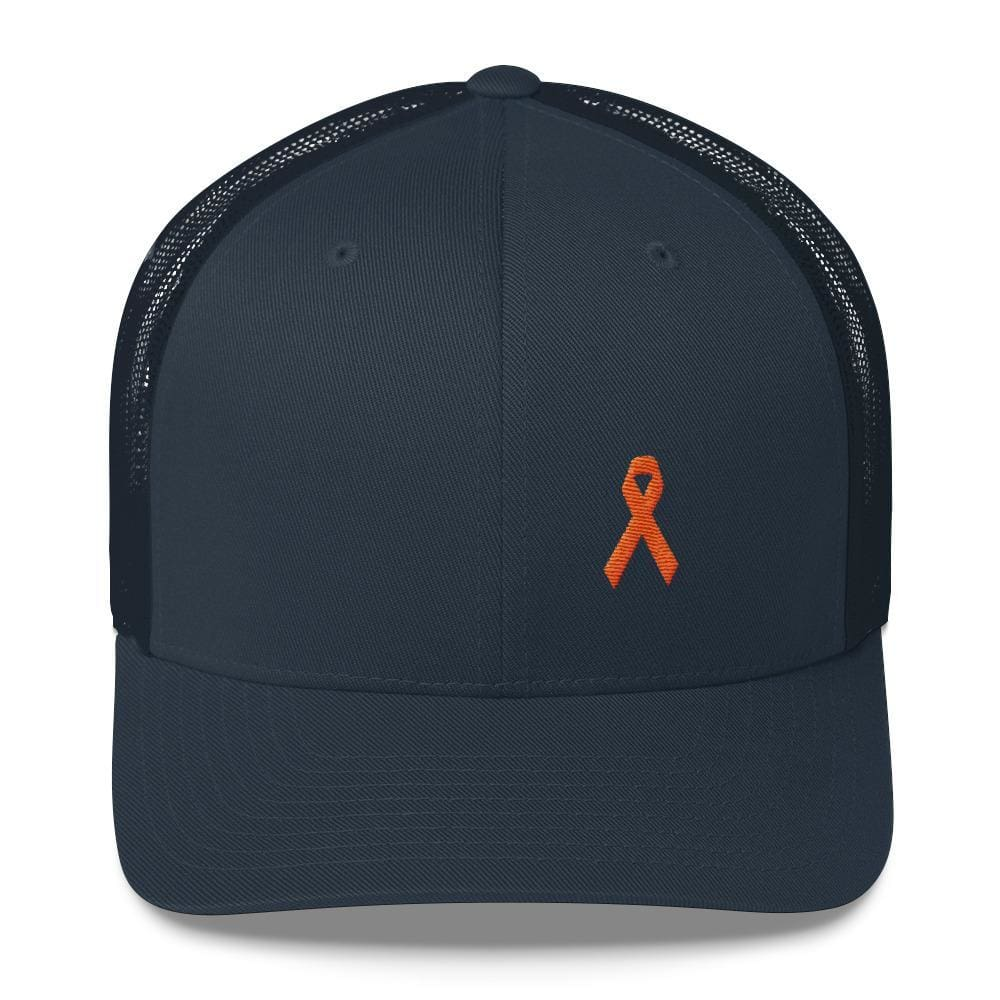 Load image into Gallery viewer, MS Awareness Orange Ribbon Snapback Trucker Hat - One-size / Navy - Hats