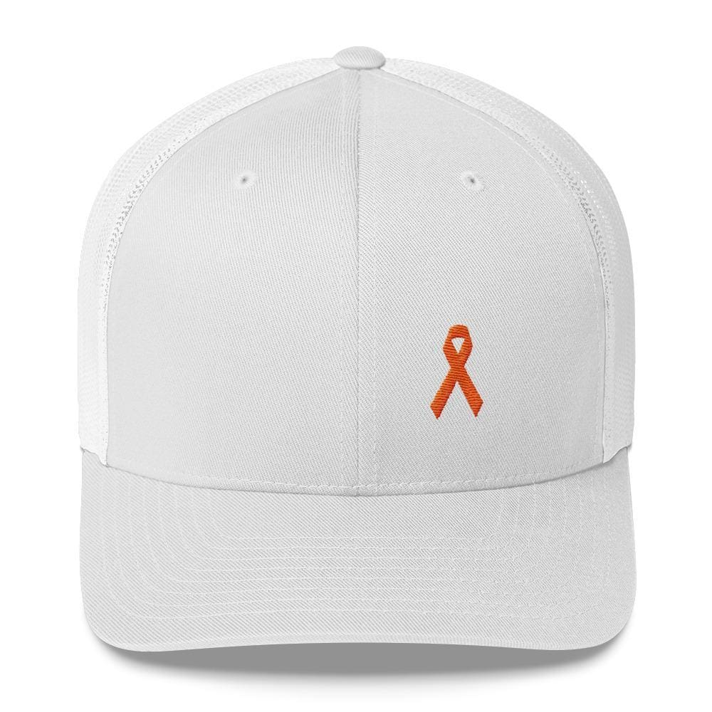 Load image into Gallery viewer, MS Awareness Orange Ribbon Snapback Trucker Hat - One-size / White - Hats