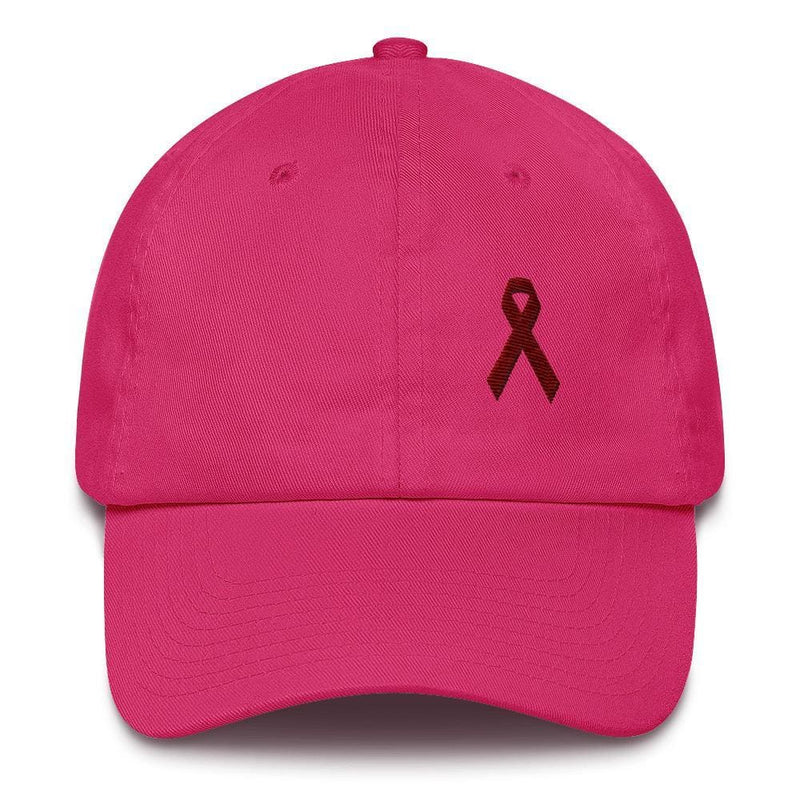 Multiple Myeloma Awareness Dad Hat with Burgundy Ribbon - One-size / Bright Pink - Hats
