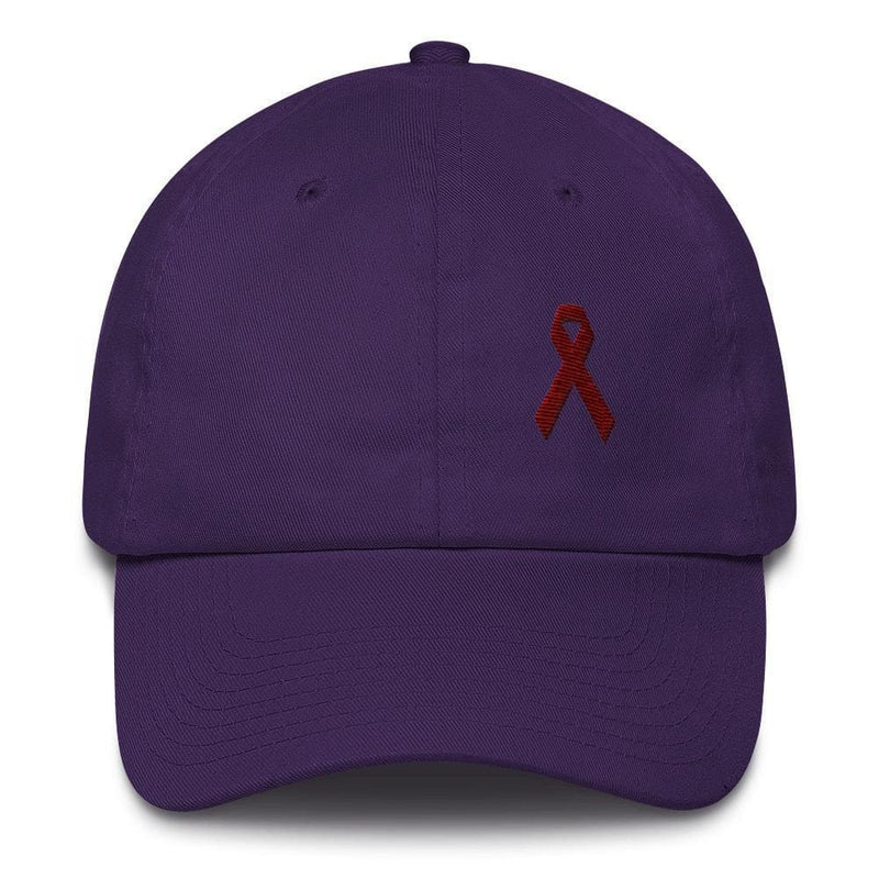 Multiple Myeloma Awareness Dad Hat with Burgundy Ribbon - One-size / Purple - Hats