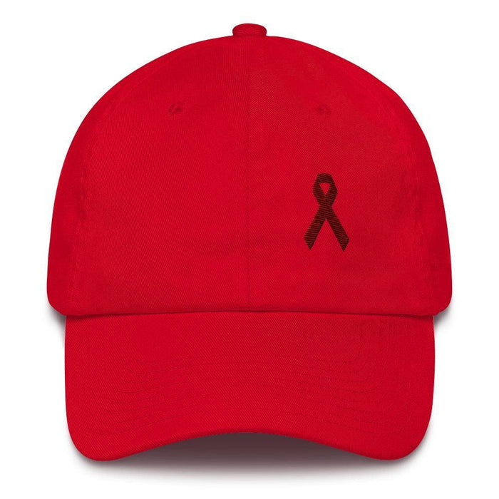 Multiple Myeloma Awareness Dad Hat with Burgundy Ribbon - One-size / Red - Hats