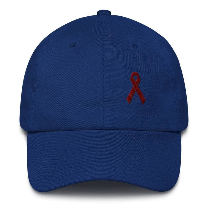 Multiple Myeloma Awareness Dad Hat with Burgundy Ribbon - One-size / Royal Blue - Hats