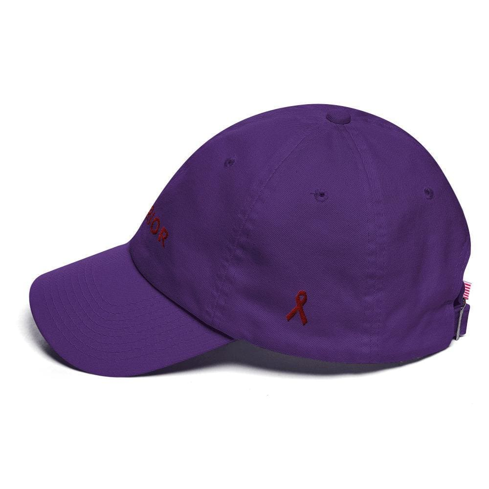 Multiple Myeloma Awareness Dad Hat with Warrior & Burgundy Ribbon - Hats