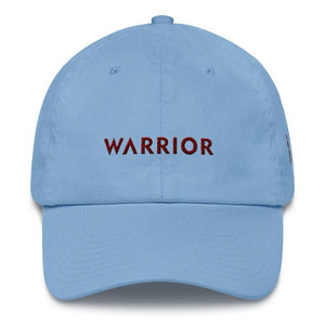 Multiple Myeloma Awareness Dad Hat with Warrior & Burgundy Ribbon - One-size / Carolina Blue - Hats