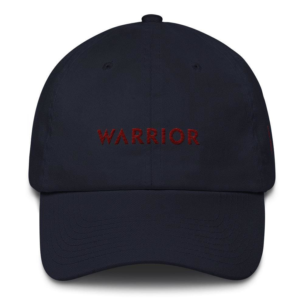 Multiple Myeloma Awareness Dad Hat with Warrior & Burgundy Ribbon - One-size / Navy - Hats
