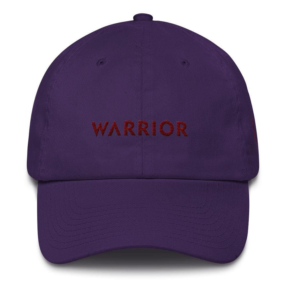 Multiple Myeloma Awareness Dad Hat with Warrior & Burgundy Ribbon - One-size / Purple - Hats
