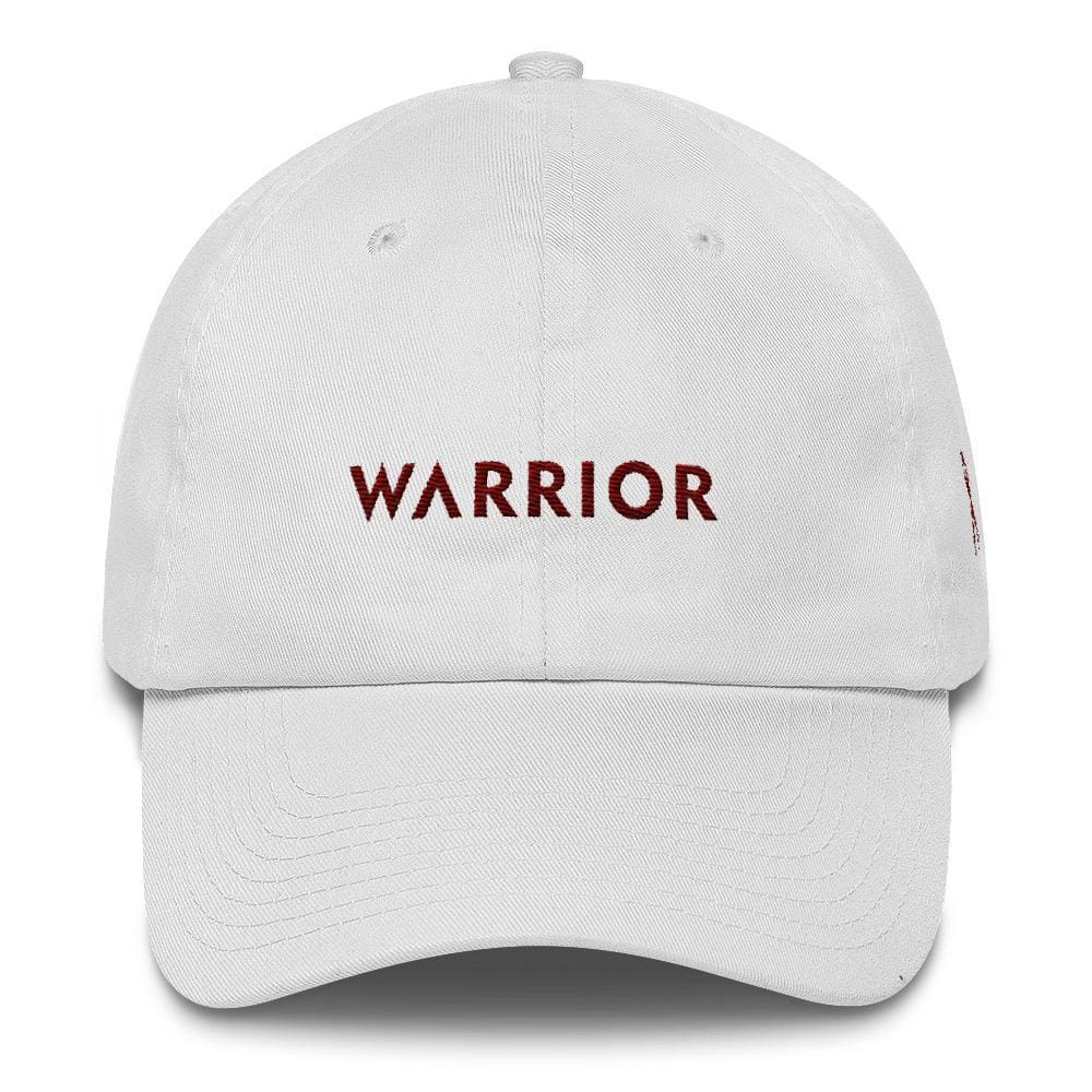 Multiple Myeloma Awareness Dad Hat with Warrior & Burgundy Ribbon - One-size / White - Hats