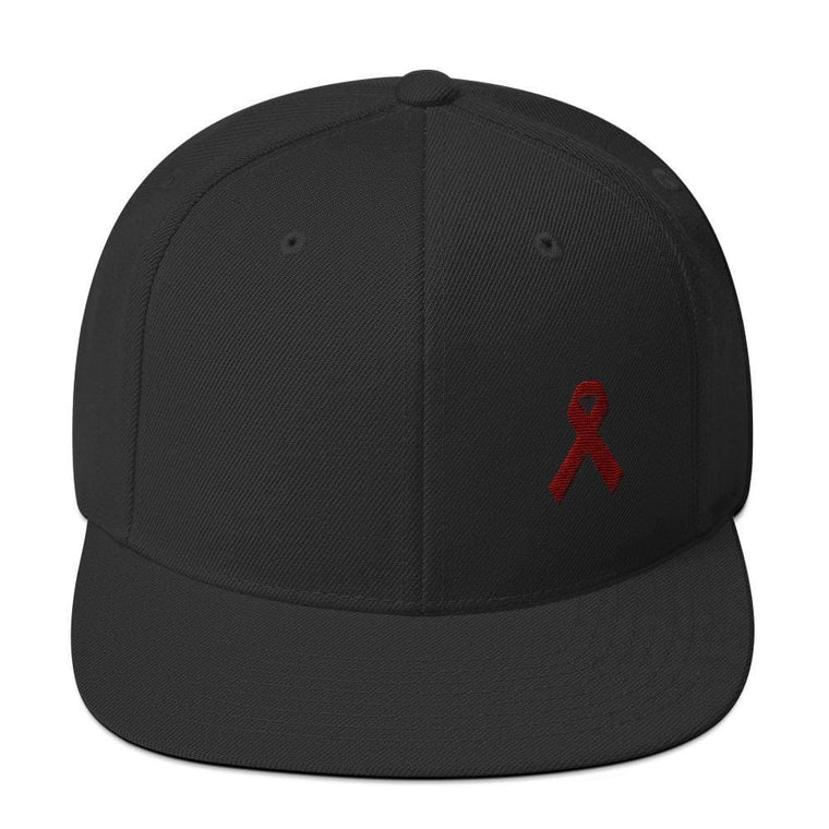 Multiple Myeloma Awareness Flat Brim Snapback Hat with Burgundy Ribbon
