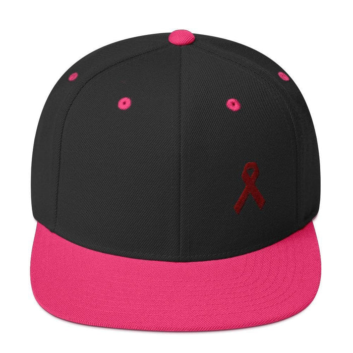 Multiple Myeloma Awareness Flat Brim Snapback Hat with Burgundy Ribbon - One-size / Black/ Neon Pink - Hats