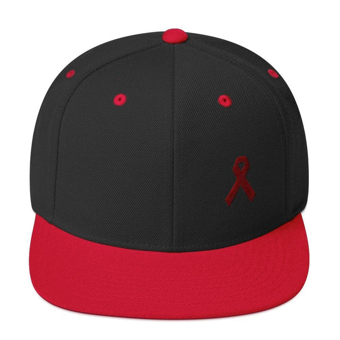Multiple Myeloma Awareness Flat Brim Snapback Hat with Burgundy Ribbon - One-size / Black/ Red - Hats
