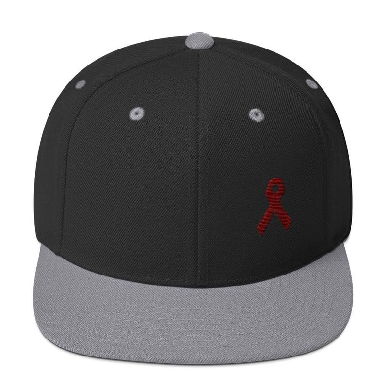 Multiple Myeloma Awareness Flat Brim Snapback Hat with Burgundy Ribbon - One-size / Black/ Silver - Hats