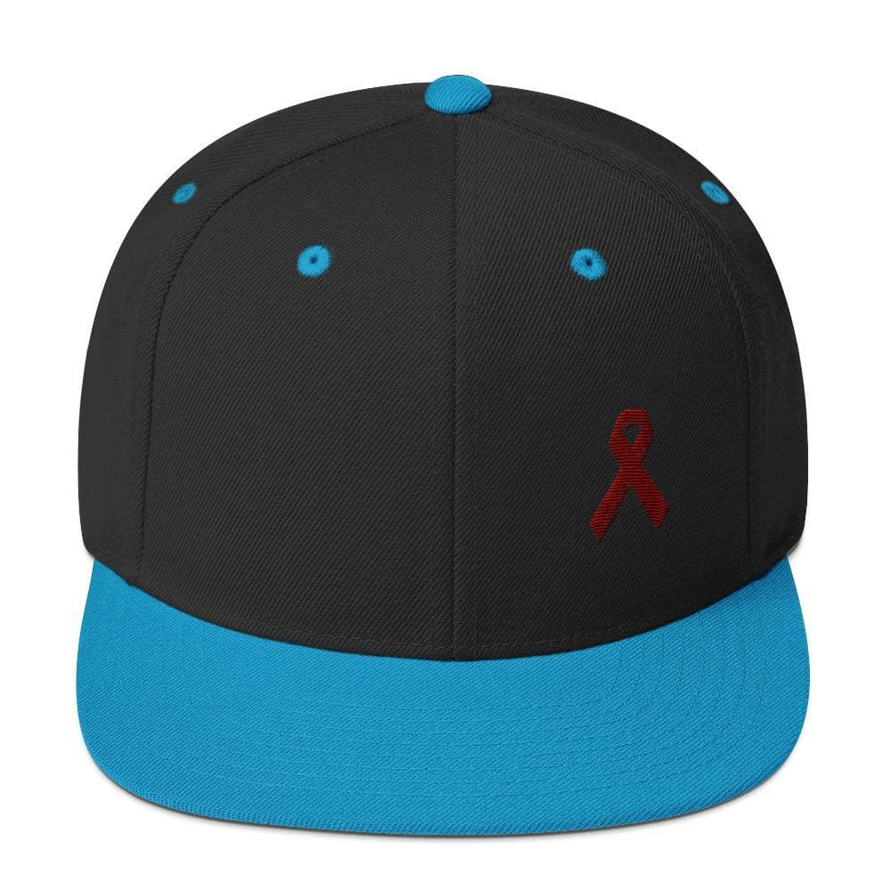 Multiple Myeloma Awareness Flat Brim Snapback Hat with Burgundy Ribbon - One-size / Black/ Teal - Hats
