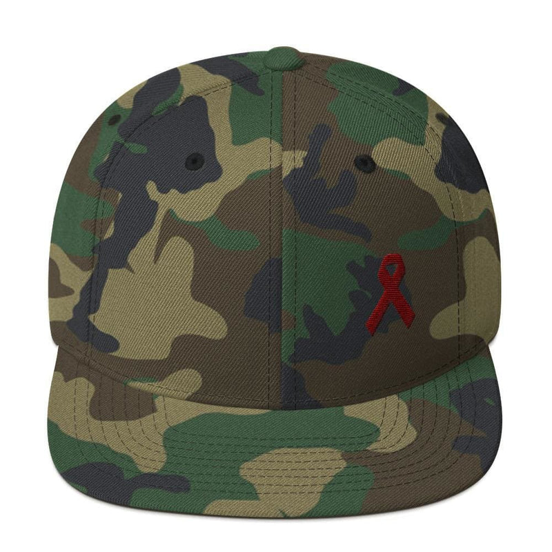 Multiple Myeloma Awareness Flat Brim Snapback Hat with Burgundy Ribbon - One-size / Green Camo - Hats
