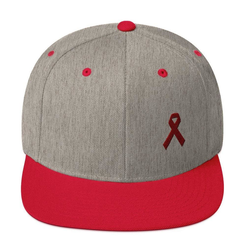 Multiple Myeloma Awareness Flat Brim Snapback Hat with Burgundy Ribbon - One-size / Heather Grey/ Red - Hats