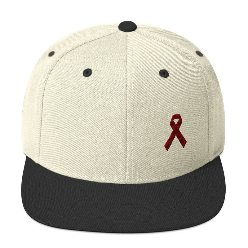 Multiple Myeloma Awareness Flat Brim Snapback Hat with Burgundy Ribbon - One-size / Natural/ Black - Hats